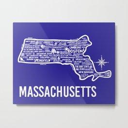Massachusetts Map Metal Print