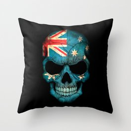 Dark Skull with Flag of Australia Throw Pillow