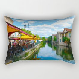 L'Isle-sur-la-Sorgue France River Cafe Rectangular Pillow