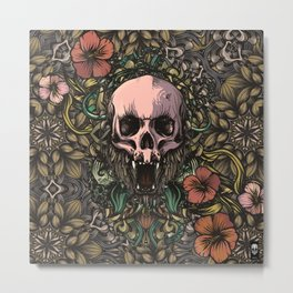 Skull in jungle Metal Print