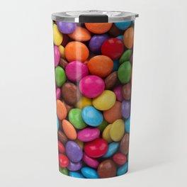 Button-Shaped Candy - Purple Pink Orange Green Travel Mug