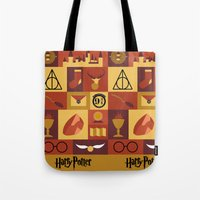 harry potter Tote Bags featuring Potter by Polvo