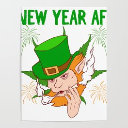 St. Patrick Four-leaf Clover Happy New Year 2020 January 1st Fireworks Merry Christmas Xmas T-shirt Poster