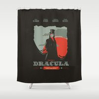 movie poster Shower Curtains featuring Dracula movie poster by Inno Theme