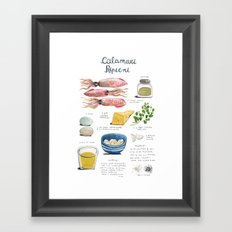 illustrated recipes: calamari ripieni Framed Art Print