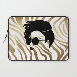 Black Woman on Gold Zebra Print Laptop Sleeve
