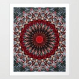 Ornamented mandala in red and gray tones Art Print