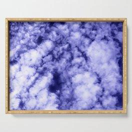 Clouds in a dark blue sky Serving Tray