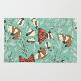 Beautiful Vintage Butterfly And Flower Pattern Rug
