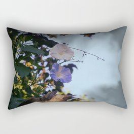 Blue And White Striped Morning Glories Rectangular Pillow