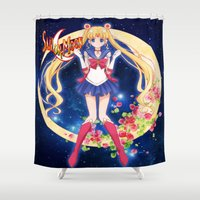 sailor moon Shower Curtains featuring Sailor moon by ezmaya
