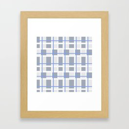 Retro Abstract Plaid Blue and Gray Framed Art Print