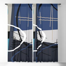 Blue Mid Century Blackout Curtain