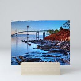 Newport Bridge, Rhode Island - Autumn Twilight Landscape Painting by Jeanpaul Ferro Mini Art Print
