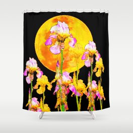 SURREAL IRIS GARDEN & RISING GOLD MOON IN BLACK SKY Shower Curtain