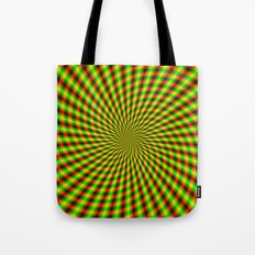 Spiral Rays in Yellow Green and Red Tote Bag