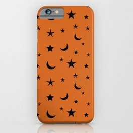 Black moon and star pattern on orange background iPhone Case