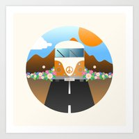 van Art Prints featuring Love Van by Moremo