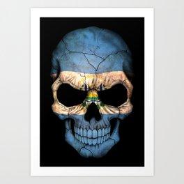 Dark Skull with Flag of El Salvador Art Print