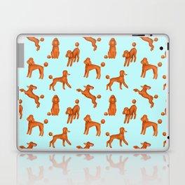 Red Poodles Pattern (Light Blue Background) Laptop & iPad Skin