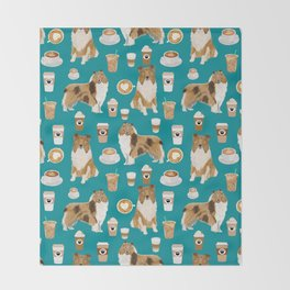 Rough Collie coffee pet portrait dog art by pet friendly latte coffee dog lover gifts Throw Blanket