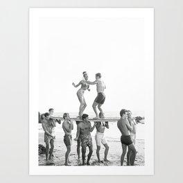 Surf Party, Black and White Retro Vintage Art Art Print