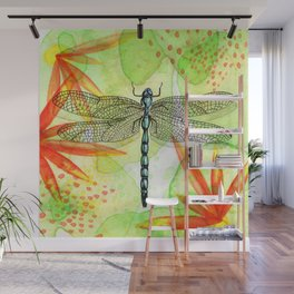 Dragonfly Lilly Art (Watercolor & Ink) Wall Mural