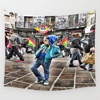 shopping Wall Tapestries featuring Shopping street by Yukska