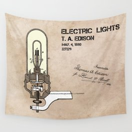 Edison electric light patent Wall Tapestry