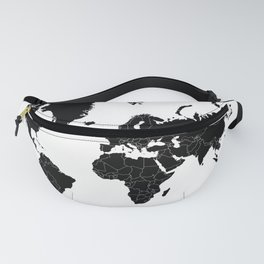 Minimalist World Map Black on White Background Fanny Pack