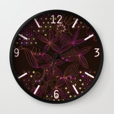 Brown, orange and purple tangle Wall Clock