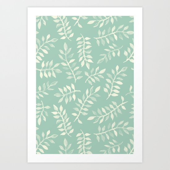 Painted Leaves - a pattern in cream on soft mint green Art Print