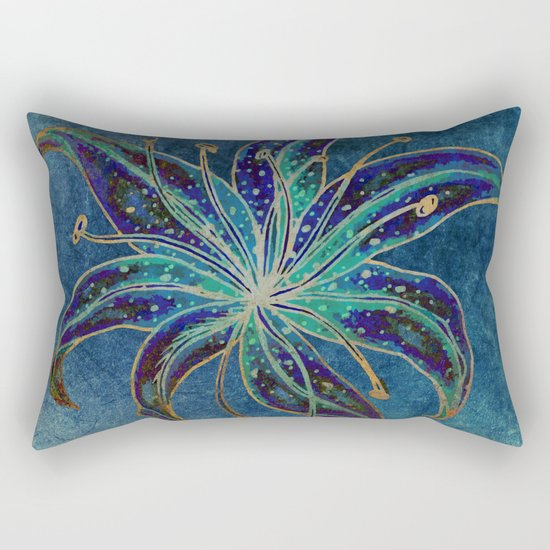 Blue Lily Rectangular Pillow