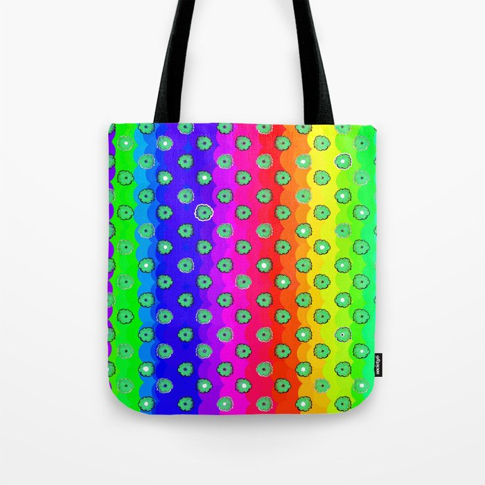 Rainbow and green flowers Tote Bag