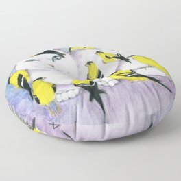 Cat Covered in Goldfinches Floor Pillow