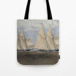 Vintage Yacht Race Illustration (1867) Tote Bag