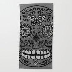 Dark gothic silver grey sugar skull Beach Towel