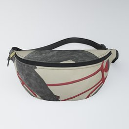 Poodle On Bicycle Print Fanny Pack