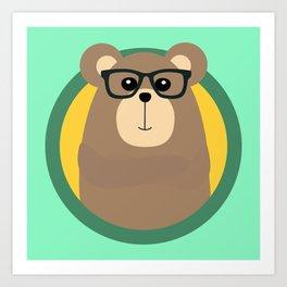 Nerd Brown Bear with cirlce Art Print