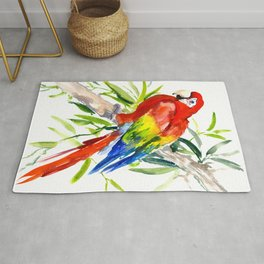 Scarlet Macaw, jungle tropical home decor bright colored parrot foliage Rug
