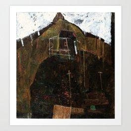 Egon Schiele Landscape with Ravens Art Print