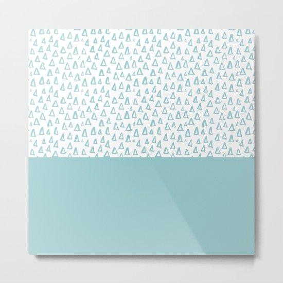 Triangles Mint Metal Print