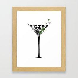 Martini - Cocktail Recipe Design - Letterpress - Gin Martini by Brandie Lee at BirdsFlyOver Framed Art Print