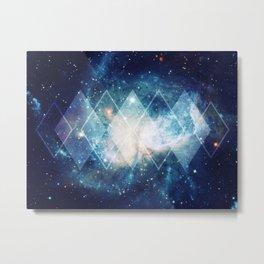 Shining Nebula - Blue Metal Print