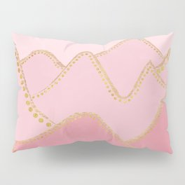 Pink Mountains with gold dots Pillow Sham