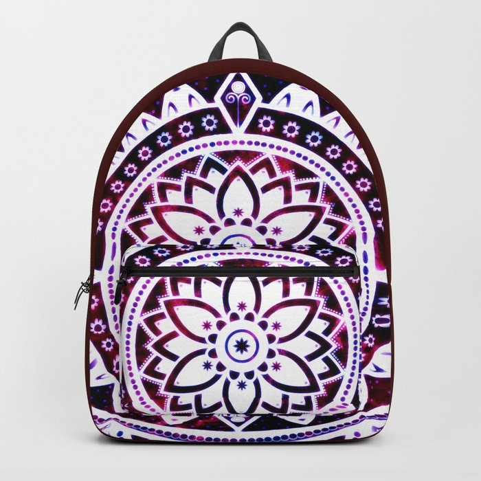Glowing Flower Mandala Red White Pink Blue Backpack