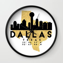 DALLAS TEXAS SILHOUETTE SKYLINE MAP ART Wall Clock