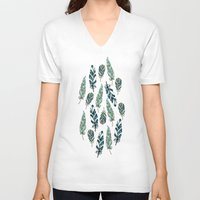 feathers V-neck T-shirts featuring Feathers by Julia Badeeva