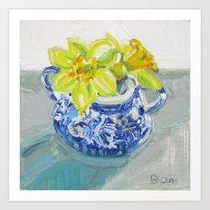 Daffodils in a Blue Willow Sugar Bowl Art Print