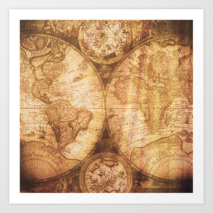 Antique world map on wood art print by mapmaker society6 antique world map on wood art print publicscrutiny Choice Image